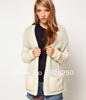 jacquard sweater women fashion 2013 autumn winter  knitted cardigan white color long sleeve cute sweater