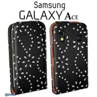 For Samsung Ace 5830 Brand New Slim Diamond Leather Flip Pouch Cover Case Free Shipping-sx027