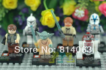 Gift 6PCS Lot Star Wars Toy Yuda/R4 P17/Han Solo/Obo wan Kenobi/Super Heroes/best quality Aliens Robot  Building Blocks