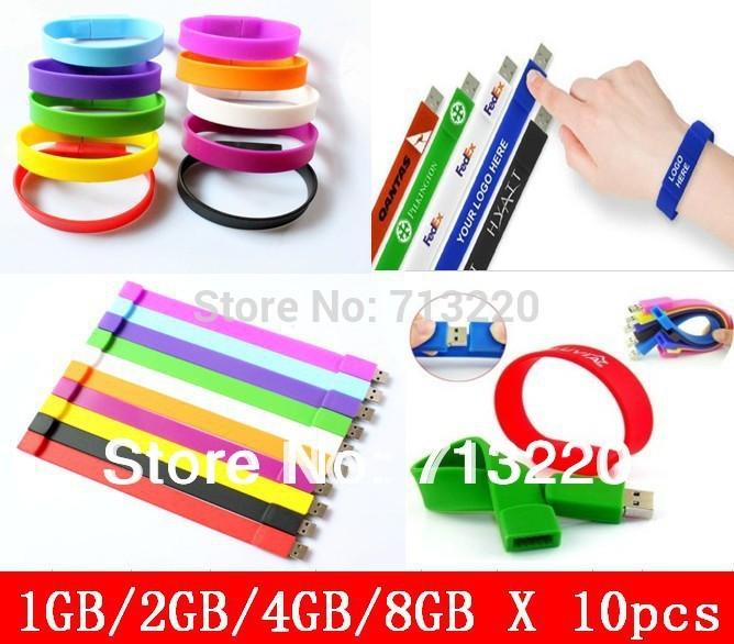 10pcs/lot X 1GB/2GB/4GB Wholesales Bracelet Silicone Wristbands Memory 8gb Thumb Stick Flash USB Drive Free Shippiing(China (Mainland))