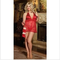 2013 New Arrival Plus Size Red Sexy Temptation Christmas Babydolls & Chemises +G-string Fat Women XXL-XXXXL 5 Pcs/set