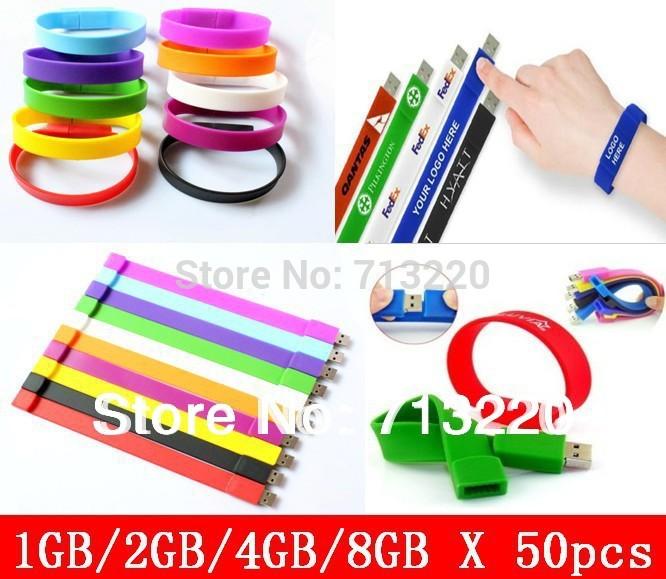 Genuine True Capacity!50pcs/lot X 1GB/2GB Wholesales Free Buyer Logo Bracelet Silicone Wristbands 4GB Memory Flash 8GB USB Drive(China (Mainland))