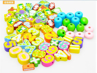 Wooden toys Animal/fruit Threading Wood 65 pcs Learning & Education Intellectual toy Good toys for Children kids