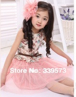 Factory Outlet 2013 hot sale children's short sleeve dress princess han edition kids princess ball gown dress+free sashes