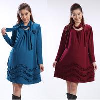 New Fashion Spring 2015 Maternity Dress for Pregnant Women Clothes Elegant Autum/Winter Dresses Long Sleeve Gravida Vestidos XL