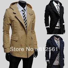 Wholesale! Free shipping new men's windbreaker jacket fashion double-breasted design. Hooded coat Commerce(China (Mainland))