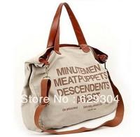 Ms canvas casual handbags women shoulder bag + shoulder bag 2013 new free shopping