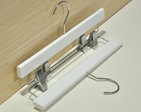 [Free shipping] Luxury Anti-Skidding White Wooden Hanger with Clips for Pants/ for Skirt (10 pieces/ lot)