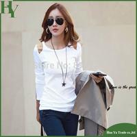 T067 Free Shipping China Factory Directly Sale Korea Women's Long Sleeve Shoulder Patch Base Shirts T-Shirts