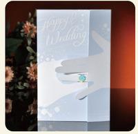 2013 Creative Blue Elegant Design Korean Wedding Invitations Fold Fancy Invitation Printable Customizable 50pcs/lot Wholesale