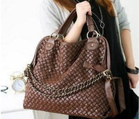 new 2014 fashion women handbags high quality Korean WEAVING GRID designers shoulder bags for woman toteswomen leather handbags