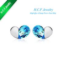 Hot selling Special Off Hot Peach heart love magic crystal stud earrings rain 2014 New Christmas Gifts 18K GP crystal earrings