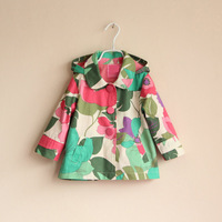MOQ:1pcs Free Shipping! 2013 Autumn winter girls jacket,girl beautiful flower windbreaker coat,high quality children outerwear
