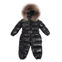 Baby 100%white duck down jumpsuit,Kids Raccoon fur collar Siamese Down romper+hat+feet set,infant Romper climbing clothes 80-120