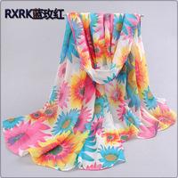 1pc 70*160cm New Design Happy Blooming Sun Flower Printed Long Chiffon Silk Scarf /WJ-010