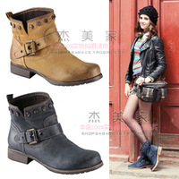 Free shipping women boots 2013 autumn fashion vintage casual motorcycle boots  flat heel ankle boots,wholesale,hot
