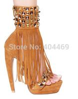 2014 new fashion banding rivet tassel platform high heels melissa sandalias sandals women boots shoes woman botas