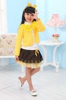 1 Set Retail,2013 New girl 3pcs clothing set knitted suit+lace shirt+bow tutu skirt children dress suits,high quality QT10067888