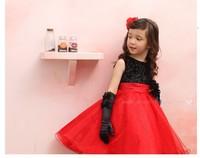 Free Shiping!Girls' Dresses,Black Flower+Red Satin Design Fit Evening Dresses,The Children's Clothing,New Fashion 2014,5pcs/lot