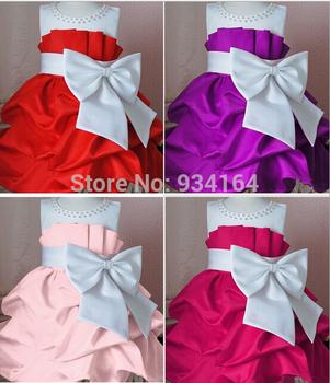 2014 new arrival  Summer children Party dress girls High-grade Princess pretty dresses chiffon Big bowknot dress 4 colors