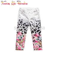 Girl Pant Jean For Child  Elastic Waist Regular Straight Print Pattern Babi Kids Pants For Girls Children Leggings