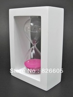 1pcs Hot Selling Romantic Sandglass White Frame pink Sand Glass Sand 30 Minutes Sand Timer creative birthday valentine gift