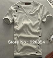 2013 New Hot Fashion Men Cotton T Shirts,V-Neck,,Short Sleeves,Button Man Tshirts, Undershirt, Waistcoat, 3-Colors.Free Ship