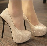 New 2014 Drop Ship Free Shipping Ladies Fashion Sexy Evening high heels Shoes Black/Gold Colour Party Pumps Shoes Size