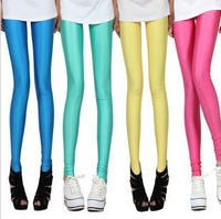Multicolour neon leggings candy color elastic size pants pantyhose ankle length trousers leggings W3007