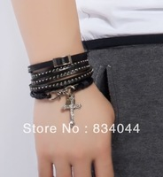 Min Order is $10 for Free Shipping Wholesale European Style Fashion2013 Punk Rivet Multilayer Black Leather Bracelets for Men