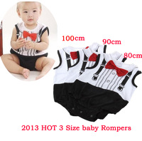 Baby  Boys Romper Tie Gentleman Short Sleeves Weskit Patchwork Rompers Of Black White Clothing Set Free Shipping