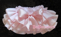 2013 Baby Ruffled Bloomer with BOW, Infant Girl Layered bloomer with Diaper Cover Kids solid color bloomer White/Pink