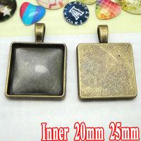 100PCS Antique Bronze ZINC ALLOY Base Wholesale 20/25mm Square Cameo Setting Cabochon TRAY Pendant Blank Base for Jewelry Making