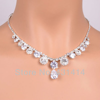 Zircon Wedding Jewelry Sets, Bridal Jewellery Set,Fashion Rhineston Necklace&Earrings for weman. Newest Designs Top Quality