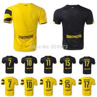 14 15 Borussia Dortmund home away black thai quality soccer jersey 2015 champions LEWANDOWSKI REUS football uniforms shirts