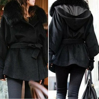 Free shipping 2013 New Fashion Women's coat hot selling Korean Style winter fake  fur collar outerwear overcoat  WWN083