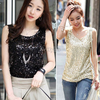 HK Free Shipping 2013 New Arrive Women Sleeveless T Shirts Ladies Sparkling Bling Singlets Sequined Tops Female Blouse S M L XL