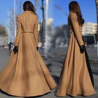 Top Quality!2014 New Autumn Winter Designer Fashion Women Floor Length Sexy Slim X-Long Wool Blends Overcoat Split Coat Outwear