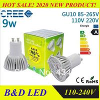 10 pcs/lot Dimmable / non-dimmable 3W / 9w CE GU10 High Power LED Lamp,White LED Bulb Light Spotlight