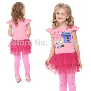 Retail ! Nova Girls' dresses new fashion 2013 kids wear baby dresses casual peppa pig girls lace dresses baby  dress