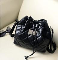 European Fashion Styles Ling Plaid Draw Cord Bucket Bag Single Shoulder handbags Free Shipping WB006