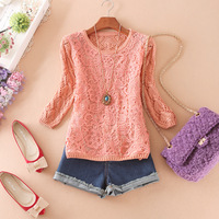 Free shipping 2013 autumn women's cutout lace half sleeve pullover sweater female  wholesale