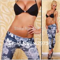 New Women's Fashion Print Flower Leggings Stretch Pants Jeggings High quality  Free shipping