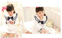 2013 new free shipping wholesale kids cotton ruffles dress,striped princess bow knot  dress girls bow knot dress GQ-275