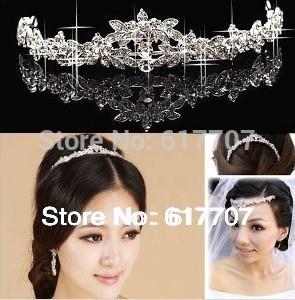Hot Selling Czech Rhinestone Crystal Crown Tiara Bridal Hair Jewelry Wedding Hair Accessories Free Shipping(China (Mainland))
