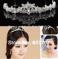 Hot Selling Czech Rhinestone Crystal Crown Tiara Bridal Hair Jewelry Wedding Hair Accessories Free Shipping