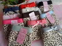 6pcs/lot Women Underpants Shorts women Fashion Cute Leopard Lines Comfortable Cotton Lady Panties Wholesale FREE SHIPPING