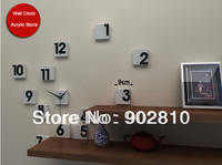 [listed in stock] - Free Shipping DIY Modern Art 3D Wall Clock Creative Number Blocks Slient Wall Clock for Wall Decor
