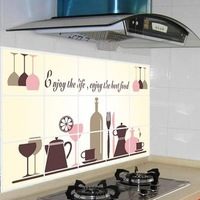 Removable 1pc/lot 45*75cm wine glasses oil proof kitchen sticker vinyl wall decor decal decoration stickers to the kitchen