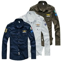 2013 Air Force One men's autumn casual slim fit long sleeved shirts, military-style dress. Blue, green, white. C16